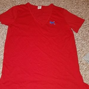 """PINK oversized red tee. """"Fourth of July"""" special."""